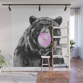 Bubble Gum Big Bear Black and White Wall Mural