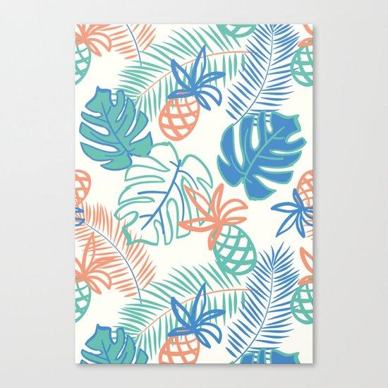 Pineapple pattern. Tropical foliage Canvas Print