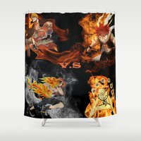 anime Shower Curtains featuring Anime VS Anime  by Pierre Venter