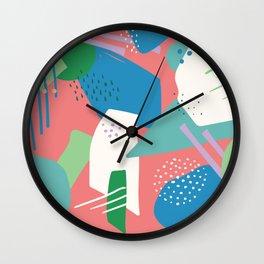 Retro Art Deco - Coral, Blue, White, Green Wall Clock