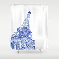eiffel tower Shower Curtains featuring Eiffel Tower by BlueShadowM