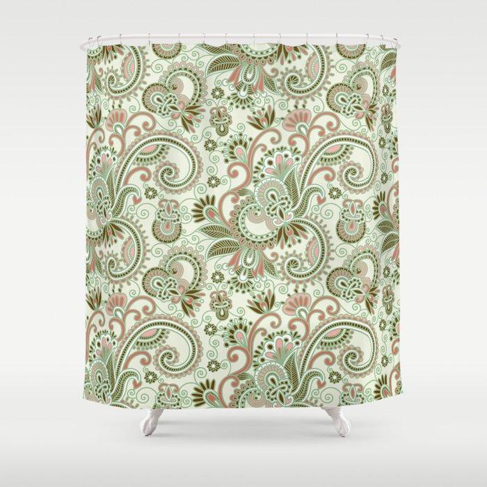 Oriental Persian Paisley, Swirls   Green Pink Shower Curtain