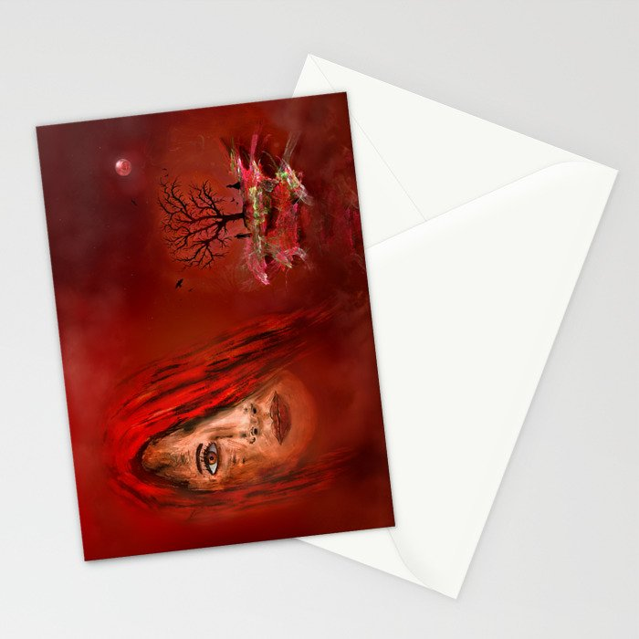 Lady in red - Island Stationery Cards
