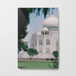 Beautiful View of The Taj Mahal Indian Islamic Architecture 7 Wonders Oriental Boho Cultural Style Metal Print