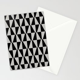 Mid Century Modern Geometric 315 Gray and Black Stationery Cards