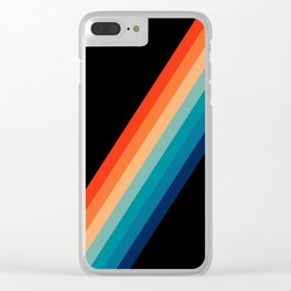Retro 70s Stripe Colorful Rainbow Black Clear iPhone Case