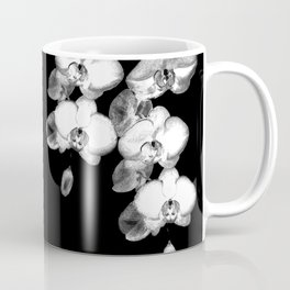 Japanese Orchids in Black Coffee Mug