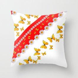 RED MODERN ART YELLOW BUTTERFLIES & WHITE DAISIES Throw Pillow