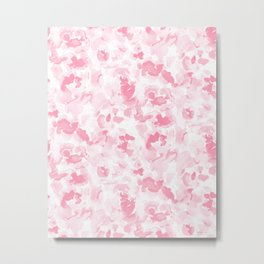 Abstract Flora Millennial Pink Metal Print