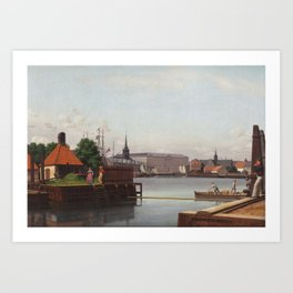 Christoffer Wilhelm Eckersberg - The Bourse, Christiansborg and Holmen's church, seen from the site Art Print
