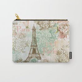I love Paris- Vintage Shabby Chic - Eiffeltower France Flowers Floral Carry-All Pouch