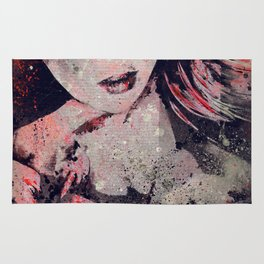Ruined Our Everything: Red (graffiti flower lady portrait) Rug