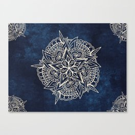 Cream and navy mandala on indigo ink Canvas Print
