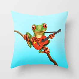 Tree Frog Playing Acoustic Guitar with Flag of China Throw Pillow