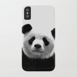 Black and white panda portrait iPhone Case