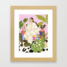 Hanging out with plants Framed Art Print