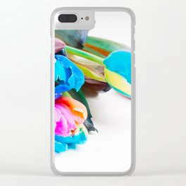 Bunch of unusual multi colored tulips over white background Clear iPhone Case