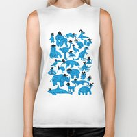 bedding Biker Tanks featuring Blue Animals Black Hats by WanderingBert / David Creighton-Pester