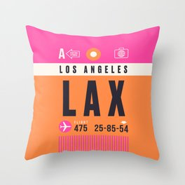 Baggage Tag A - LAX Los Angeles USA Throw Pillow