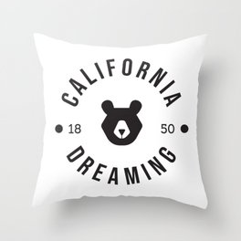 California Dreaming Minimalist Bear Throw Pillow