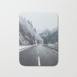 Snowy Mountain Roads Bath Mat