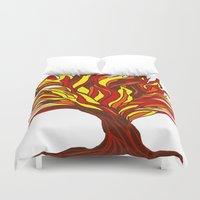murakami Duvet Covers featuring The flame tree by Marcy Murakami