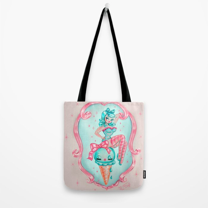 Candy Blue Ice Cream Pin Up Doll Tote Bag