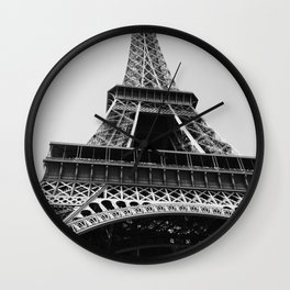 Eiffel Tower // Looking up at the World's Most Famous Monument in Paris France Classic Photograph Wall Clock