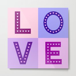 Love Hearts Love Type Pinks Purples Metal Print