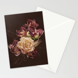 Chocolate flowers. Rose and lily on dark background. Stationery Cards