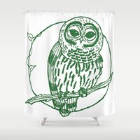 coasters Shower Curtains featuring Forest Lover's Owl by KimberlyVautrin