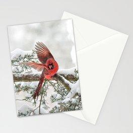 Winter Snow Flight: Northern Cardinal Stationery Cards