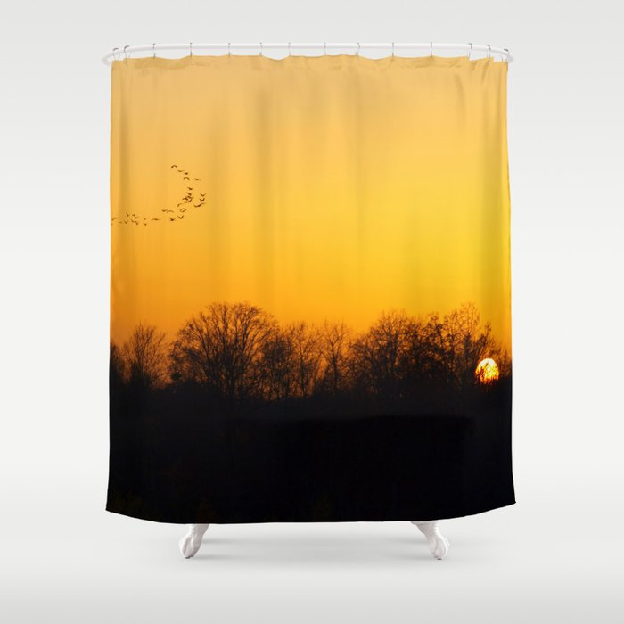 Sunset and cranes natural landscape from France Shower Curtain