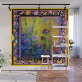 Blue Hollyhock Painting in Western Style Design Wall Mural
