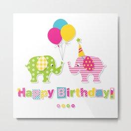 Happy Birthday Elephants! Metal Print