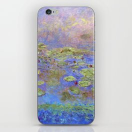 Water Lillies - Claude Monet (indigo blue) iPhone Skin