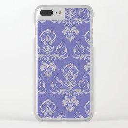 Blue Vintage Damask Clear iPhone Case