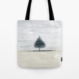 Lone tree in desert Tote Bag