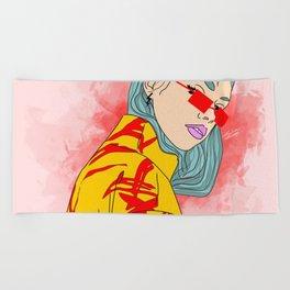 CUZ IM KOOL LIKE DAT - Cool Asian Female with Blue Hair Digital Drawing Beach Towel