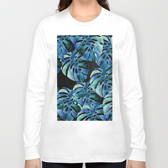 Monstera Pattern Blue On Chalkboard Long Sleeve T-shirt