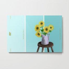 Sunflowers on Blues Metal Print