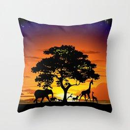 Wild Animals on African Savanna Sunset Throw Pillow