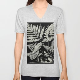 Ferns and evergreens of New England-Edward Knobel - 1895 Leaves Black & White Ink Pattern Unisex V-Neck