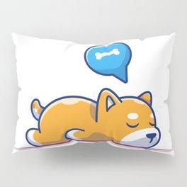Lazy Dog Sleeping Icon Sleeping Shiba Inu Animal Icon Isolated Pillow Sham
