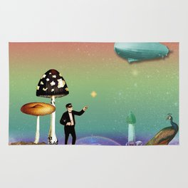 the magician in the land of mushrooms Rug