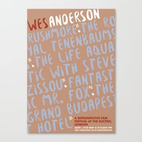 wes anderson Canvas Prints featuring Wes Anderson - The Royal Tenenbnums by Laura Mace Design
