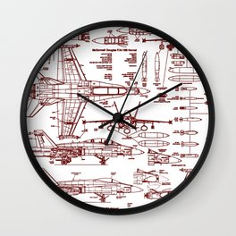 F-18 Blueprints // Red Ink Wall Clock