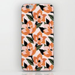 Bold orange poppy on a soft pink base iPhone Skin
