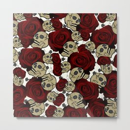 Red Roses & Skulls Black Floral Gothic White Metal Print