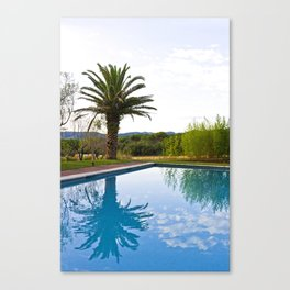 Palm tree Reflected in the Swimming Pool Canvas Print